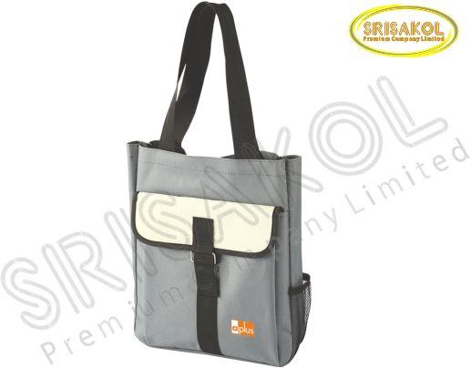 กระเป๋าช้อปปิ้ง สีเทา สลับ สีครีม รหัส A1830-19B
