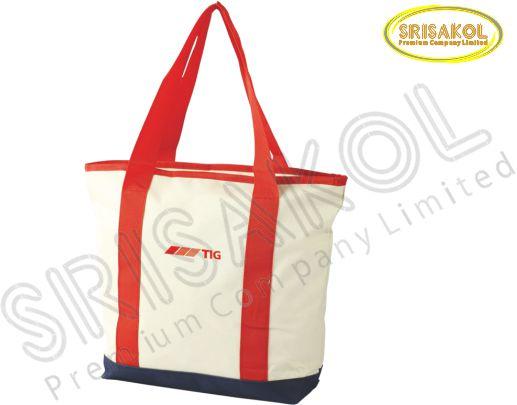 กระเป๋าช้อปปิ้ง สีครีม สลับ สีกรมท่า รหัส A1831-2B
