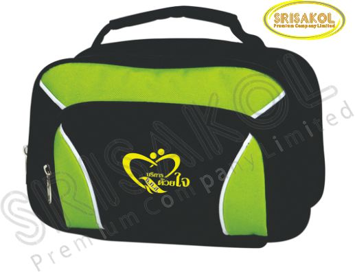 กระเป๋าหิ้วเล็ก สีดำ สลับ สีเขียวตอง รหัส A1829-11B