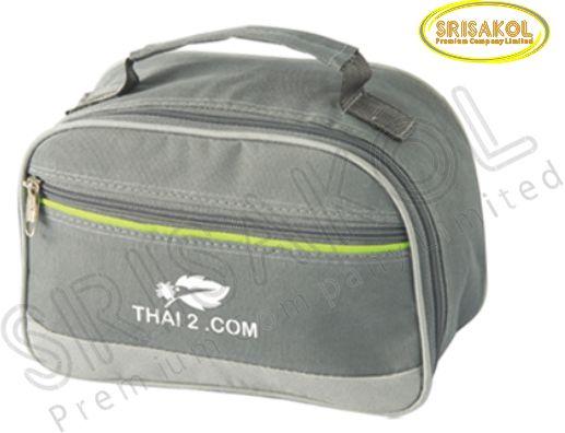 กระเป๋าหิ้วเล็ก สีเทาเข้ม สลับ สีเทาอ่อน รหัส A1834-13B