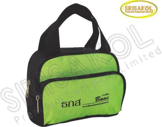 กระเป๋าหิ้วเล็ก สีดำ สลับ สีเขียวตอง รหัส A1838-13B