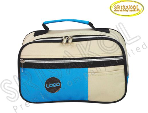 กระเป๋าหิ้วเล็ก สีกากี สลับ สีฟ้า รหัส A1824-14B