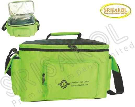 กระเป๋าเก็บความเย็น สีเขียวตอง สลับ สีดำ รหัส A1848-4B