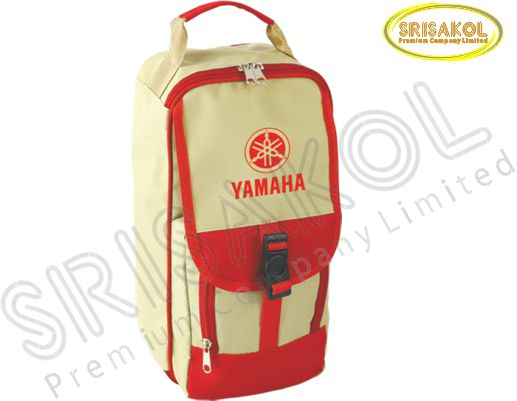 กระเป๋าใส่รองเท้า สีกากี สลับ สีแดง รหัส A1830-14B
