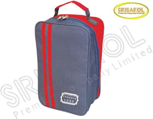 กระเป๋าใส่รองเท้า สีเทาเข้ม สลับ สีแดง รหัส A1846-3B