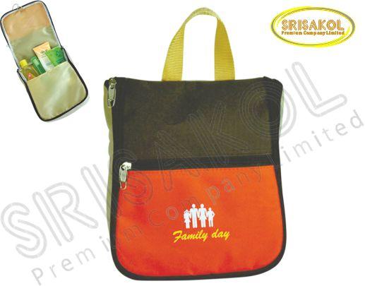 กระเป๋าใส่อุปกรณ์เดินทาง สีน้ำตาล สลับ สีส้ม รหัส A1828-1B