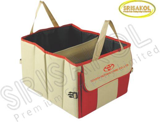 กระเป๋าเก็บของท้ายรถ สีกากี สลับ สีแดง รหัส A1830-9B
