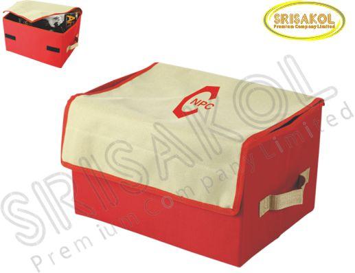 กระเป๋าเก็บของท้ายรถ สีกากี สลับ สีแดง  รหัส A1830-10B