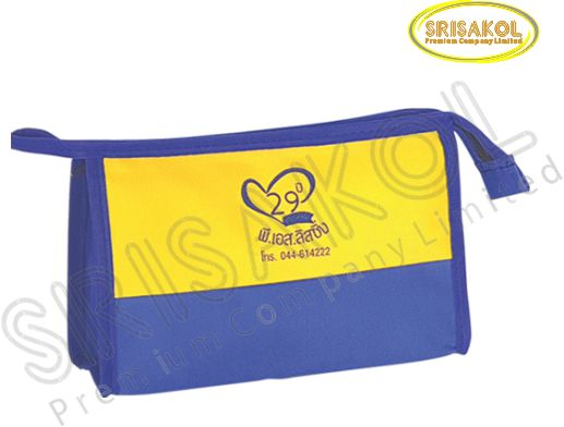 กระเป๋าใส่ของจุกจิก มีซิป  สีน้ำเงิน สลับ สีเหลือง  รหัส A2020-15B