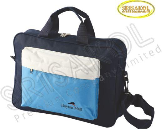 กระเป๋าใส่เอกสาร สีกรมท่า สลับ สีขาว/สีฟ้า รหัส A1929-8B