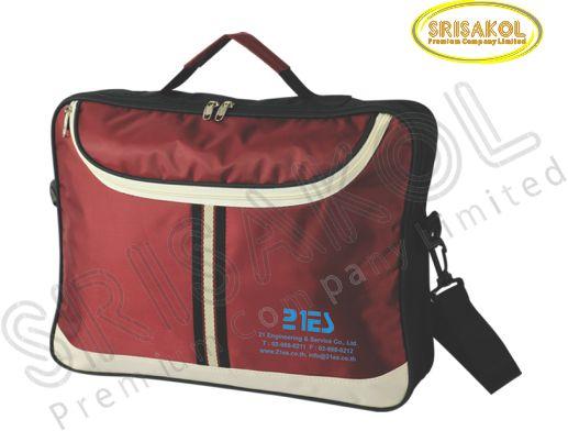 กระเป๋าใส่เอกสาร สีดำ สลับ สีครีม/สีเลือดหมู  รหัส A1922-5B