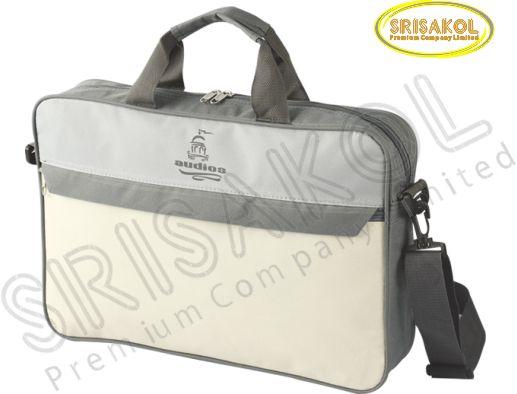 กระเป๋าใส่เอกสาร สีเทาเข้ม สลับ สีเทาอ่อน/สีครีม รหัส A1929-9B