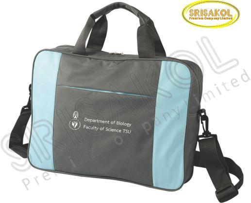 กระเป๋าใส่เอกสาร สีเทาเข้ม สลับ สีฟ้า รหัส A2010-3B
