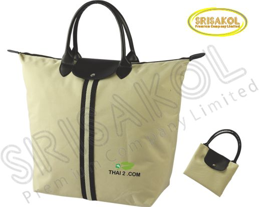 กระเป๋าช้อปปิ้งพับเก็บได้ สีกากี รหัส A2009-8B
