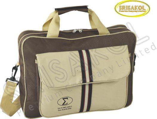 กระเป๋าใส่เอกสาร สีน้ำตาล สลับ สีกากี  รหัส A2011-13B
