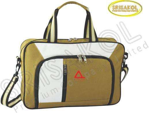 กระเป๋าใส่เอกสาร สีน้ำตาล สลับ สีขาว  รหัส A2007-14B