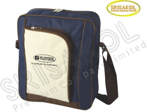 กระเป๋าสะพาย สีกรมท่า สลับ สีครีม/น้ำตาล  รหัส A2015-3B