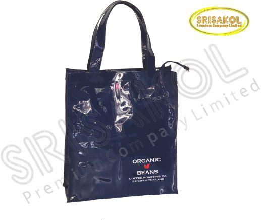 กระเป๋าช้อปปิ้ง ผ้าหนังแก้ว สีกรมท่า  รหัส A2017-15B