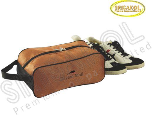 กระเป๋าใส่รองเท้า สีน้ำตาล สลับ สีดำ รหัส A2009-2B
