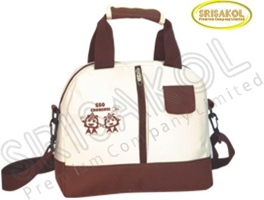 กระเป๋าสะพาย สีน้ำตาล สลับ สีครีม รหัส A2005-5B