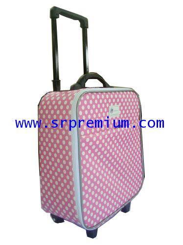 กระเป๋าเดินทางมีโครง ล้อลาก ผ้าลายจุดขนาด 14 และ 16 นิ้ว