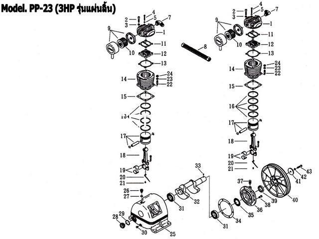 อะไหล่ปั๊มลมพูม่า 3 แรงม้า รุ่น PP-23 (3 HP รุ่นแผ่นลิ้น)