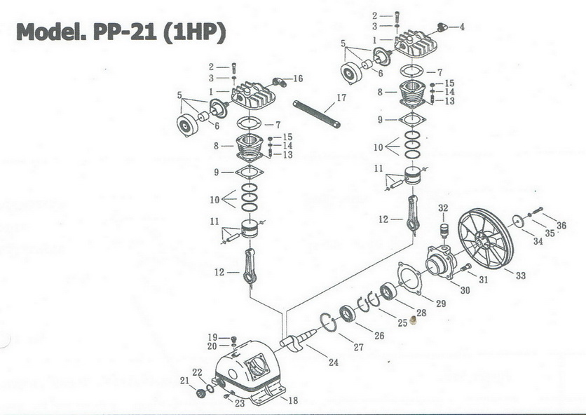 อะไหล่ปั๊มลมพูม่า 1 แรงม้า รุ่น PP-21 (1 HP)