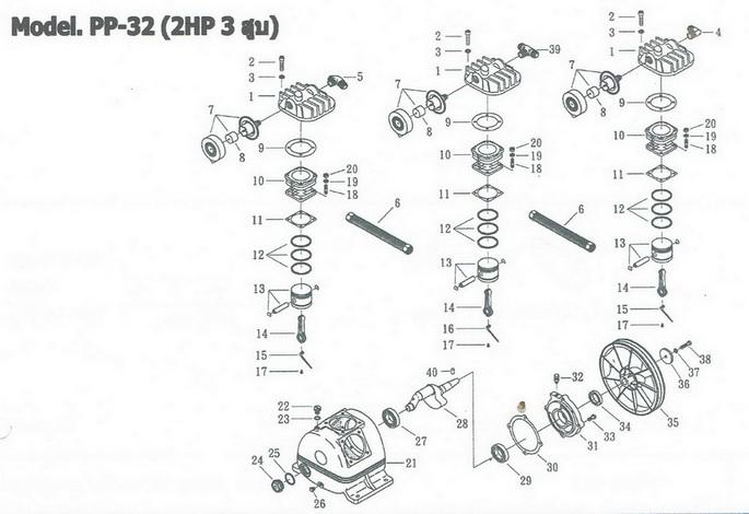 อะไหล่ปั๊มลมพูม่า 2 แรงม้า รุ่น PP-32 (2 HP 3 สูบ)