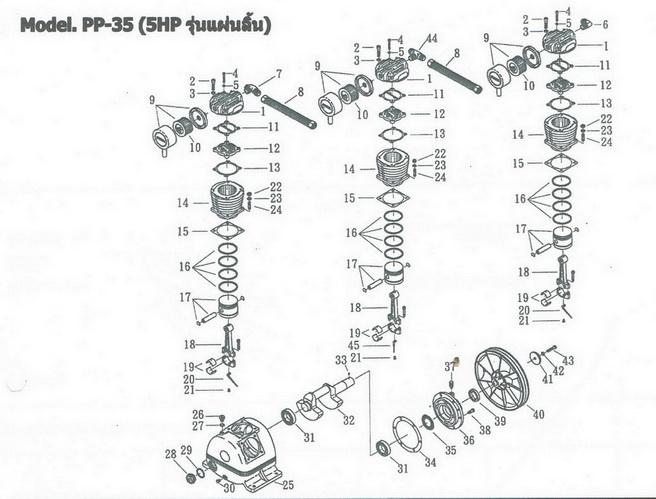 อะไหล่ปั๊มลมพูม่า 5 แรงม้า รุ่น PP-35 (5 HP รุ่นแผ่นลิ้น)