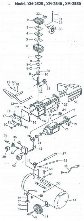 อะไหลปั๊มลมพูม่า โรตารี่ รุ่น XM2525 XM2540 XM2550 3 แรงม้า
