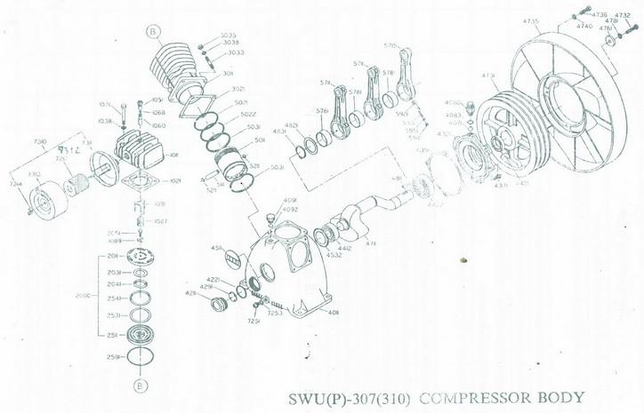 อะไหล่ปั๊มลมสวอน 7.5 แรงม้า รุ่น SWP-307