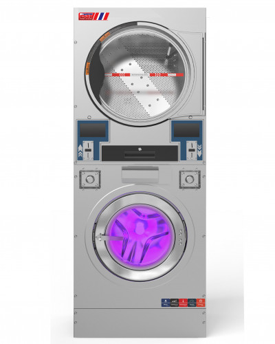 เครื่องซักผ้าอบผ้าหยอดเหรียญ2ชั้น 15kgแบบอุตสาหกรรม
