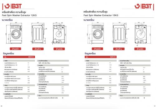 เครื่องซักผ้าหยอดเหรียญ 12kg แบบอุตสาหกรรม BGT 4