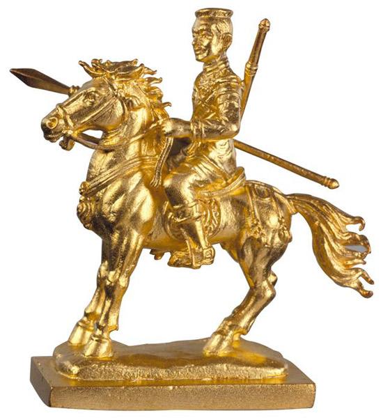 วัดพระศรีรัตนมหาธาตุฯ รูปหล่อสมเด็จพระนเรศวรมหาราชทรงม้าศึกเนื้อทองแดงชุบทองไมครอน {ปล่อยขาดทุน !!}