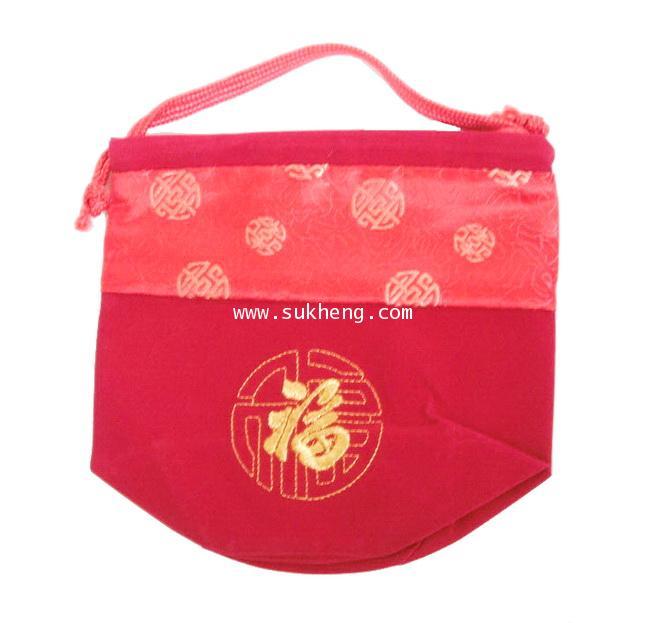 ถุงใส่ส้มมงคล ผ้าต่วนและกำมะหยี่หูเชือกหิ้ว ขนาดกลาง