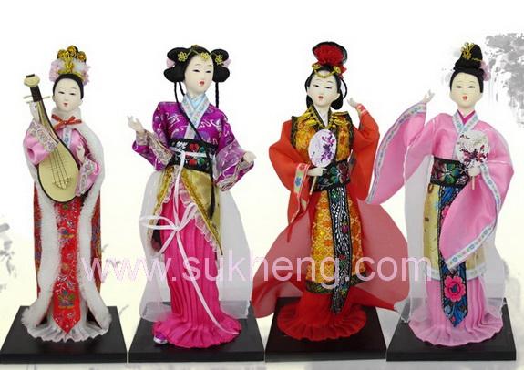 ชุดตุ๊กตางิ้วผ้าไหมสี่สาวงามแห่งแผ่นดินจีน ขนาด 12 นิ้ว