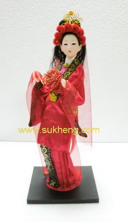 ตุ๊กตางิ้วหญิงชุดผ้าไหม เจี่ย ตันฉวน ความฝันในหอแดง ขนาด 12 นิ้ว
