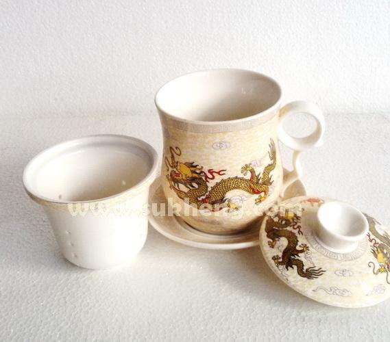 ถ้วยดื่มน้ำชาเซรามิคลายมังกรพร้อมถ้วยกรอง