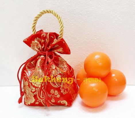 ถุงส้มมงคล ผ้าต่วนลาย ขนาด ใส่ส้มขนาดใหญ่ 4 ผล