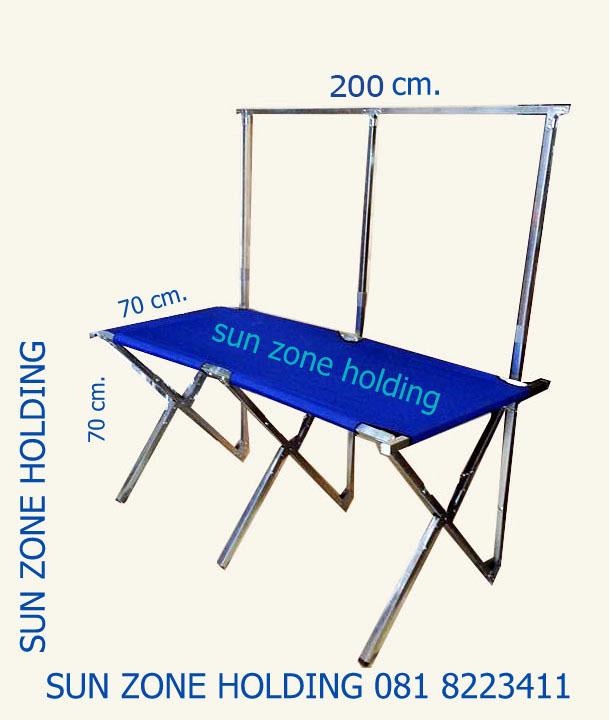 PROMOTION 995 บาท โต๊ะตลาดนัด/ราวแขวนโชว์ พับเก็บได้ รุ่นหน้าโต๊ะเป็นผ้าใบ - ความยาว 2 เมตร