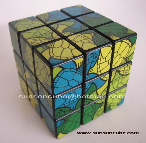 3x3x3  Unique Turtle picture Sticker Style / Black