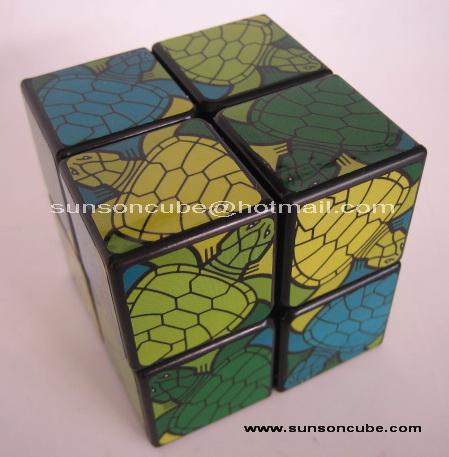 2x2x2  Unique Turtle picture Sticker Style / Black