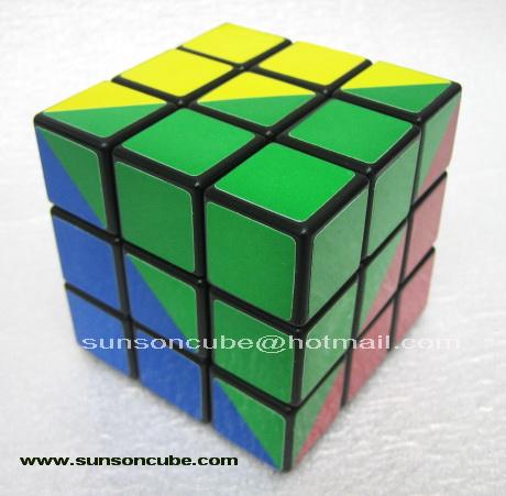 Maru 3x3x3 Ruben king 4 colors sticker style - Black cube