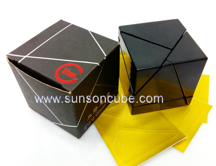 2x2x2 Ghost Cube - FangShi with Gold stickers