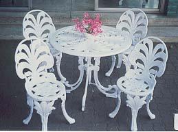 ชุดเก้าอี้อัลลอย ลายใบเฟิร์น 4 ที่ /สีขาว