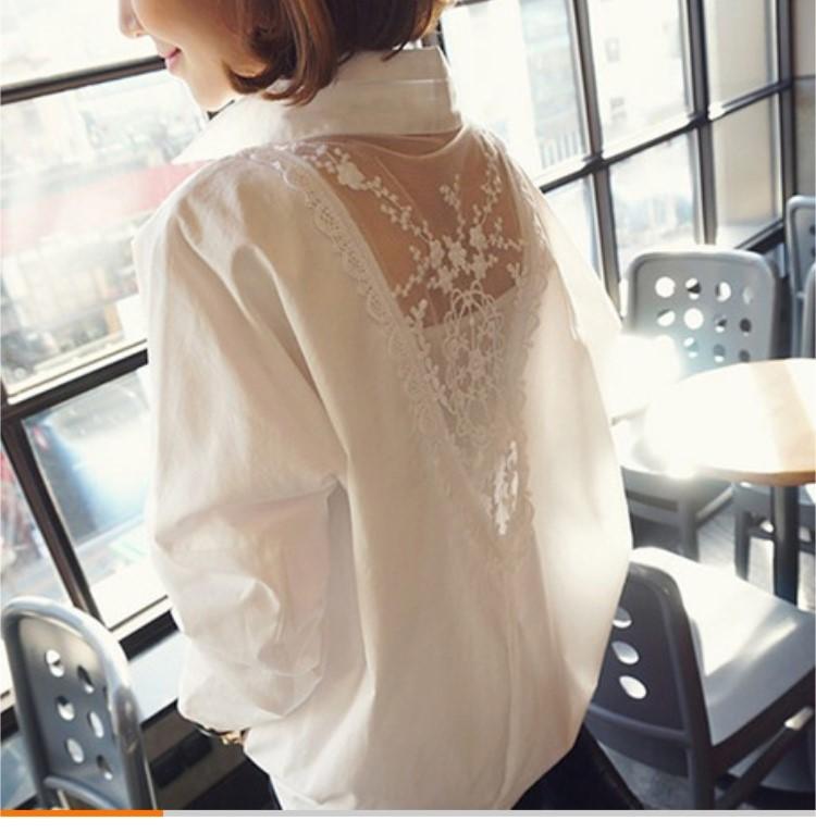 เสื้อเชิตสีขาวผ้าลูไม้ด้านหลังไซร์  m L