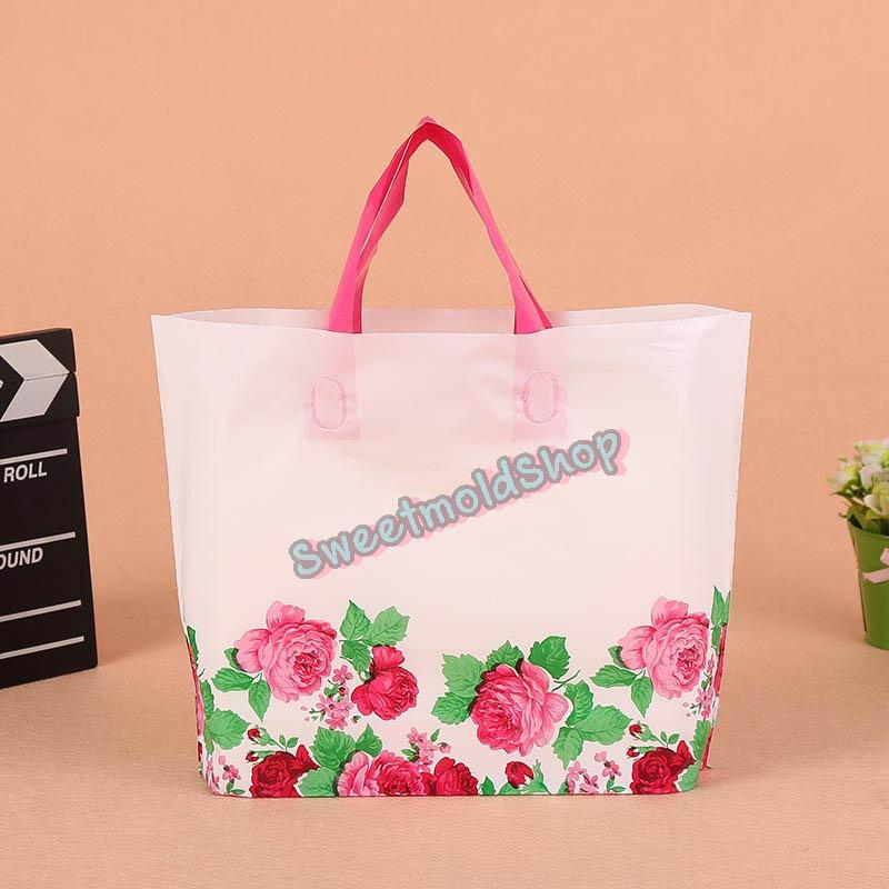 ถุงกระเป๋าทึบลายดอกกุหลาบตั้งได้ 33x25+6 cm. 50 ชิ้น