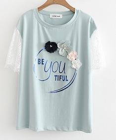 เสื้อยืดคอกลมมีสกรีนหน้าแขนสั้นผ้าลูกไม้,สีชมพู,ฟ้า,ขาว,ฟรีไซร์