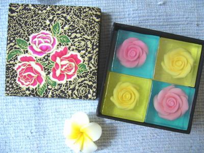 Rose  soap   4  bars in silk box