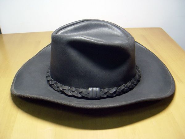 หมวกคาวบอย Cowboy Hat หนังแท้สีดำ Made in USA ของแท้นำเข้า สภาพดีมาก